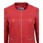 Womens Leather Collarless Jacket with Quilt Design Joan Red