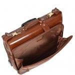 Leather Suit Carrier with Wheels HOL13 Chestnut Tan