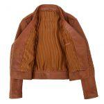 Womens Soft Leather Cross Zip Fashion Jacket Remi Tan