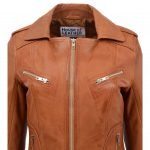 Womens Leather Fitted Biker Style Jacket Kim Tan