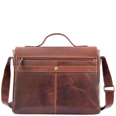 Mens Leather Cross Body Flap Over Briefcase Marland Brown