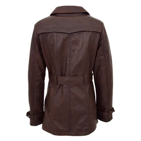 Womens Leather Double Breasted Trench Coat Sienna Brown