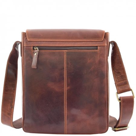 Mens Leather Cross Body Flight Messenger Bag Bratton Brown