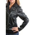 Womens Leather Biker Brando Jacket Kate Black