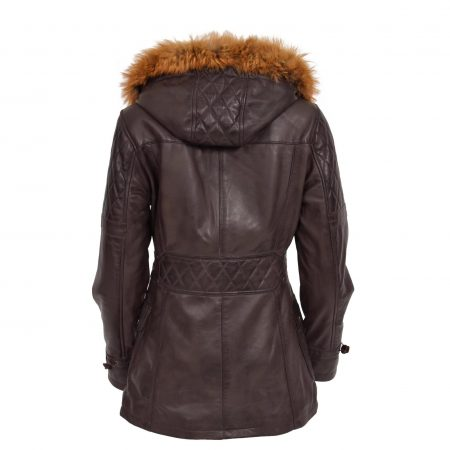 Womens Original Duffle Style Leather Coat Ariel Brown