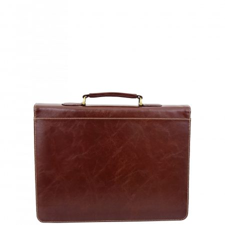 Mens Faux Leather Flap Over Briefcase Windsor Brown