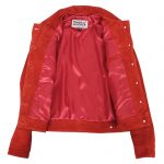 Womens Soft Suede Trucker Style Jacket Alma Red