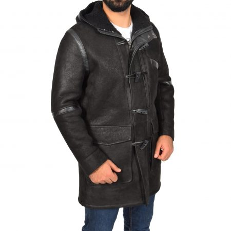 Mens Real Sheepskin Winter Duffle Coat Bain Black