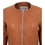 Womens Leather Collarless Jacket with Quilt Design Joan Tan