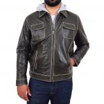 Mens Leather Detachable Hoodie Work Jacket Cypher Grey
