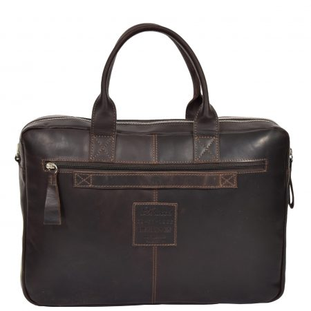 Mens Vintage Leather Organiser Briefcase Mason Brown