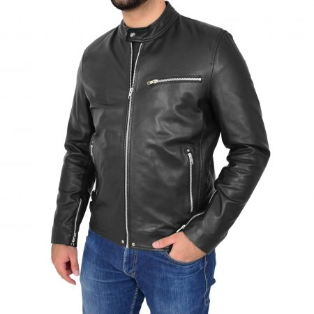 Mens Leather Cafe Racer Causal Biker Jacket Gerard Black
