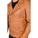 Mens Leather Biker Jacket Brando Style Johnny Tan