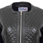 Womens Leather Collarless Jacket with Quilt Design Joan Black
