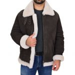 Men's B3 Sheepskin Jacket Detachable Hoodie Ruben Brown White