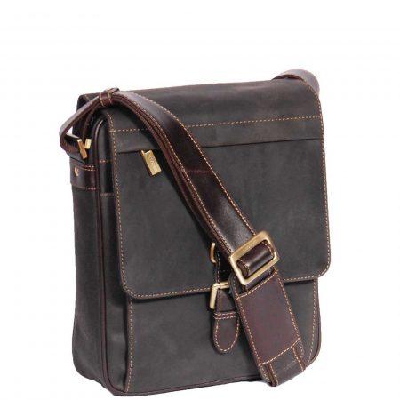 Mens Leather Cross Body Shoulder Bag HOL11 Brown