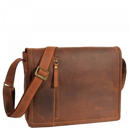 Mens Leather Messenger Laptop Bag Berlin Tan