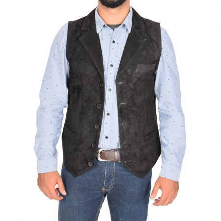 Mens Suede Buttoned Waistcoat Gilet Devin Black