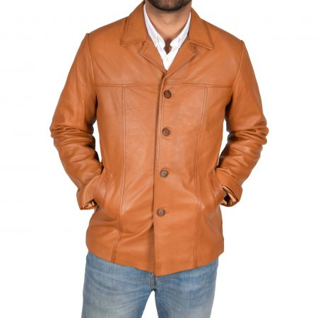 Men's Leather Classic Reefer Jacket Thrill Tan