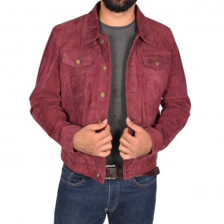 Mens Real Suede Trucker Harrington Jacket Daryl Burgundy