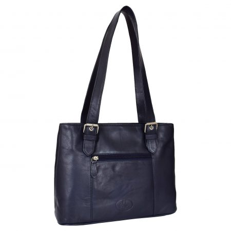 Womens Real Leather Classic Shoulder Bag Ariana Navy