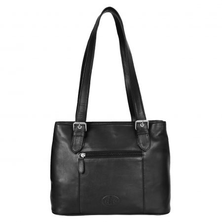Womens Real Leather Classic Shoulder Bag Ariana Black