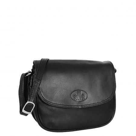 Womens Leather Cross Body Flap over Bag Athena Black