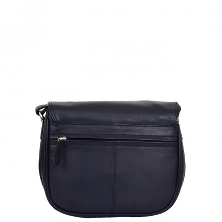 Womens Leather Cross Body Flap over Bag Athena Navy
