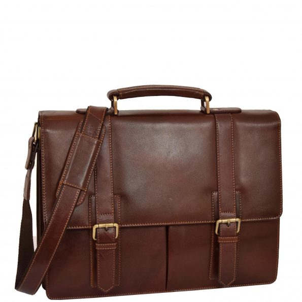 Mens Leather Flap Over Briefcase Ollie Tan