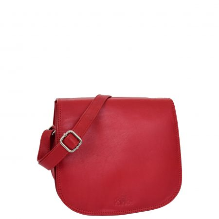Womens Leather Saddle Shape Cross Body Bag Sadie Red