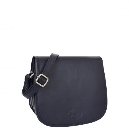 Womens Leather Saddle Shape Cross Body Bag Sadie Navy