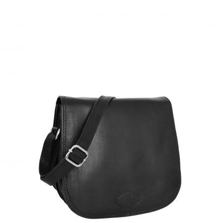 Womens Leather Saddle Shape Cross Body Bag Sadie Black