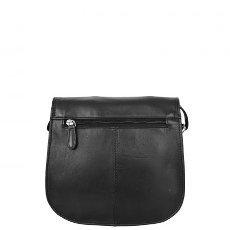 Womens Leather Saddle Shape Cross Body Bag Sadie Black