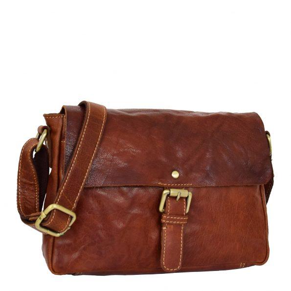 Womens Leather Classic Cross Body Shoulder Bag Hazel Cognac