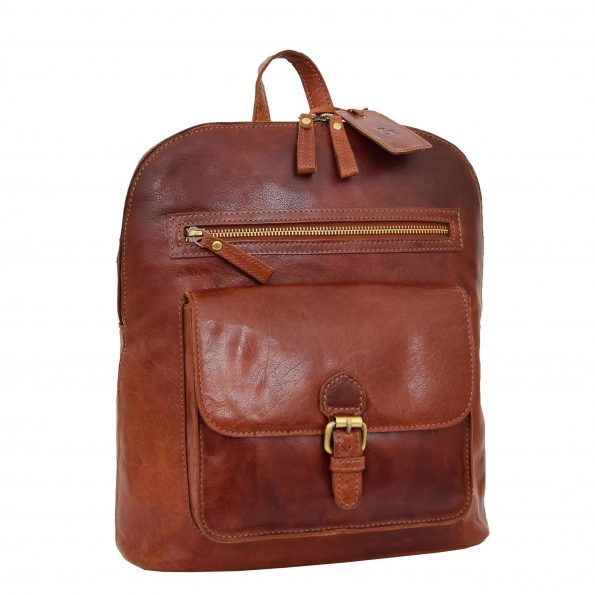 Womens Leather Casual Mid Size Backpack Tan
