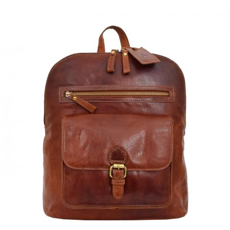 Womens Leather Casual Mid Size Backpack Doris Tan