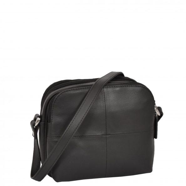 Womens Leather Multi Compartment Sling Bag Bari Black