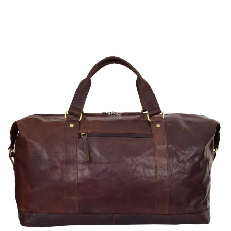 Real Leather Large Size Travel Holdall Brixton Brown