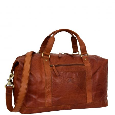Real Leather Large Size Travel Holdall Brixton Tan
