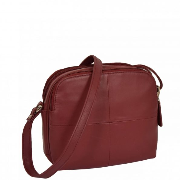 Womens Leather Multi Compartment Sling Bag Bari Red