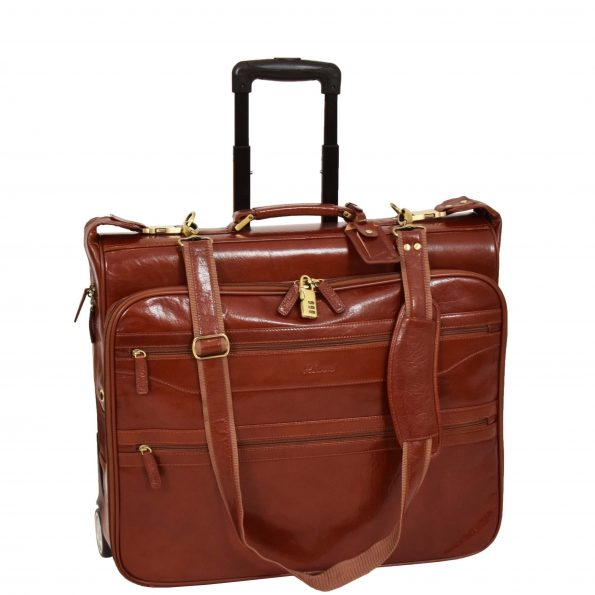 Leather Suit Carrier with Wheels HOL13 Cognac