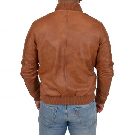 Mens Leather MA-1 Bomber Jacket Ryan Tan