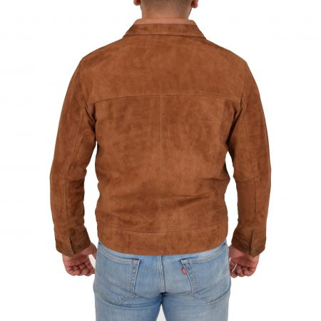 Mens Real Suede Casual Harrington Jacket Larry Tan