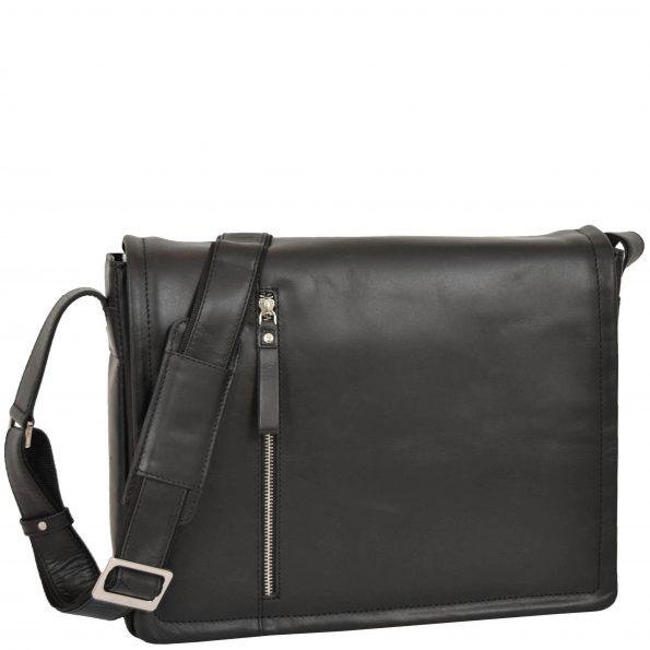 Mens Leather Messenger Laptop Bag Berlin Black
