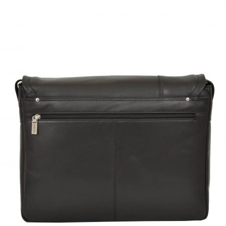 Mens Leather Messenger Laptop Bag Berlin Black