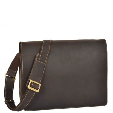 Mens Leather Cross Body Flap over Bag Vegas Brown