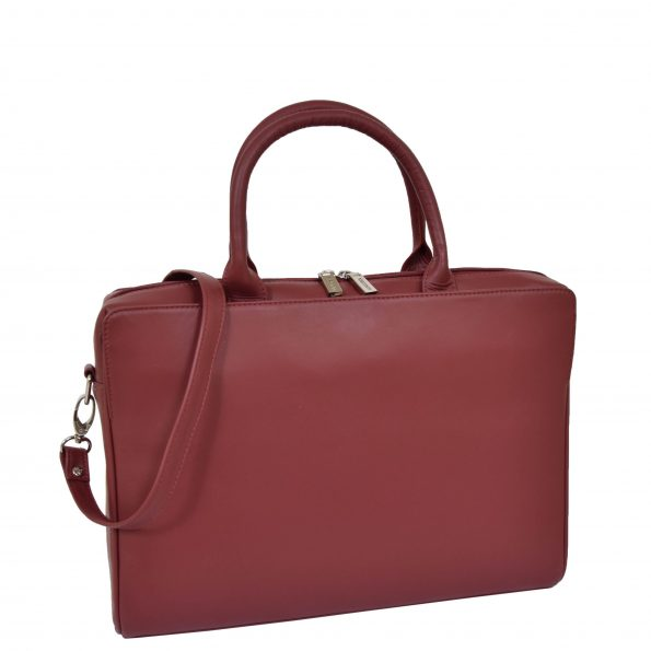Womens Real Soft Leather Briefcase Wilma Red