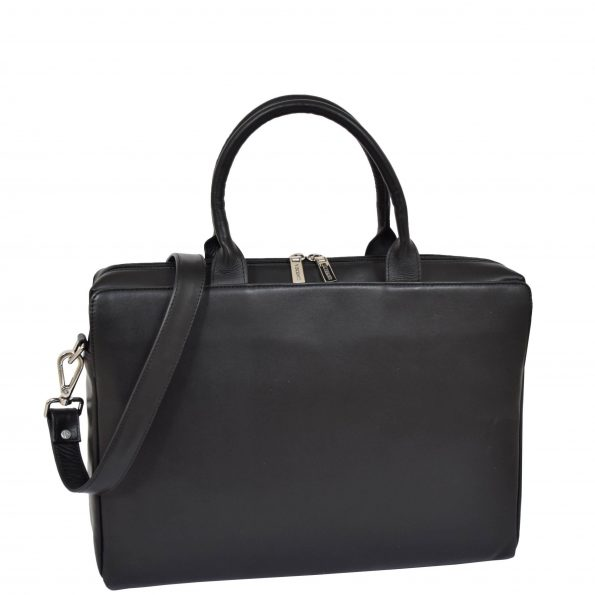 Womens Real Soft Leather Briefcase Wilma Black