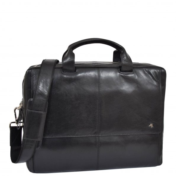 Mens Leather Briefcase with Laptop Compartment Bennett Black