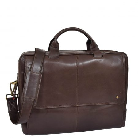Mens Leather Briefcase with Laptop Compartment Bennett Brown